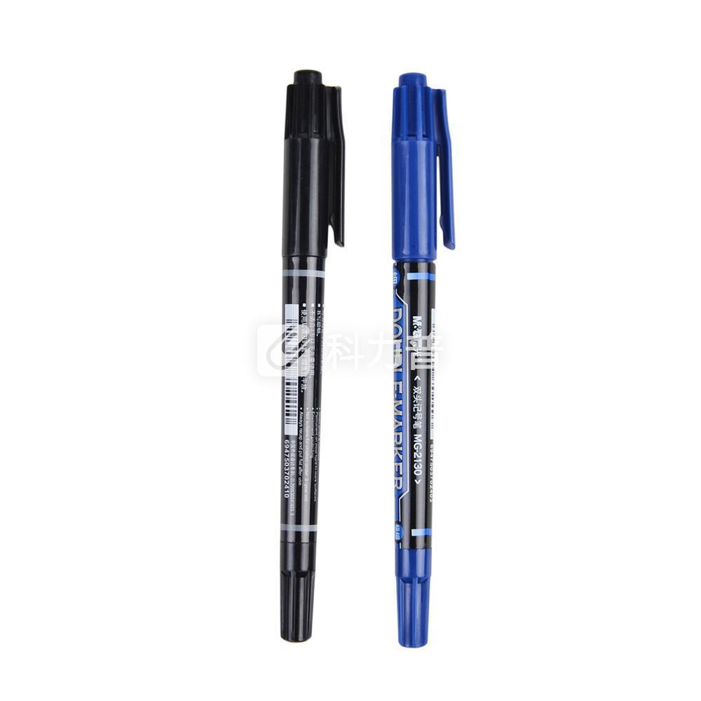 晨光 M&G 小双头记号笔 MG-2130 细头2.0mm,极细头0.5mm (黑色) 12支/盒