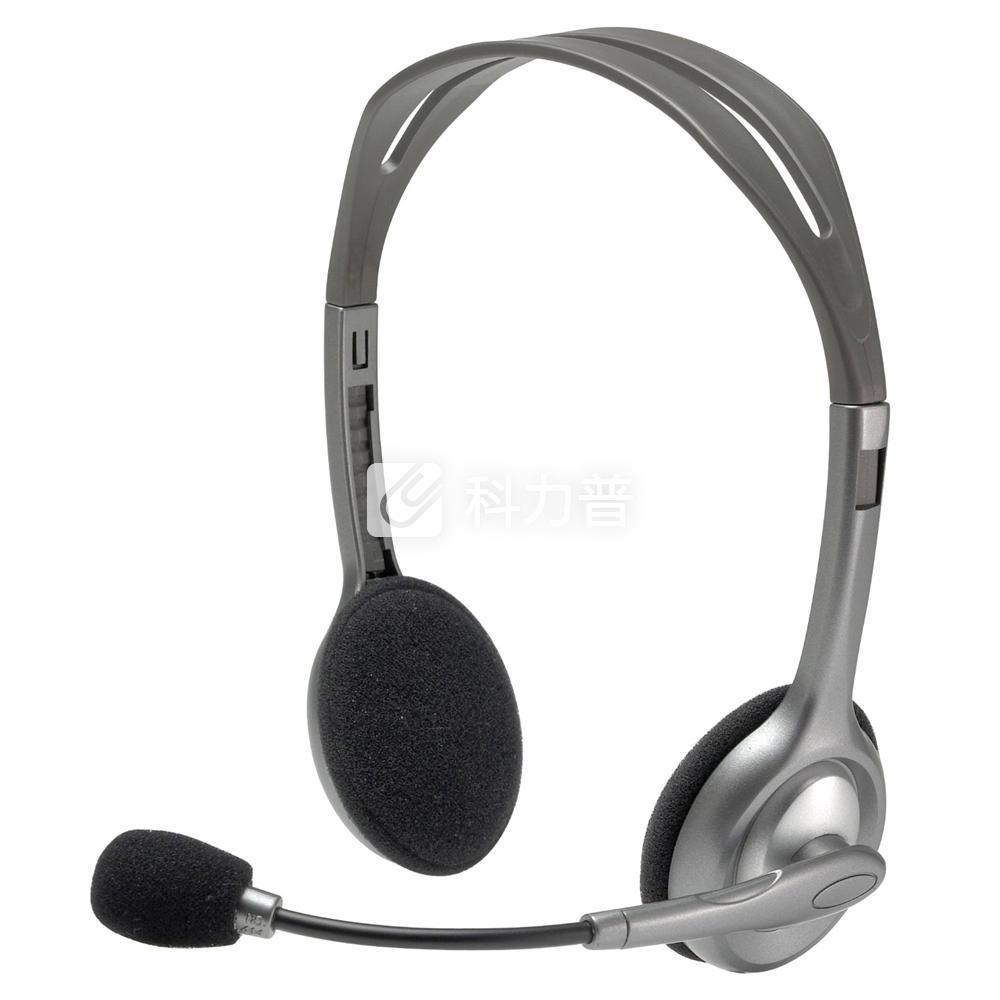 罗技 Logitech 立体声耳机麦克风 H110 (银色)