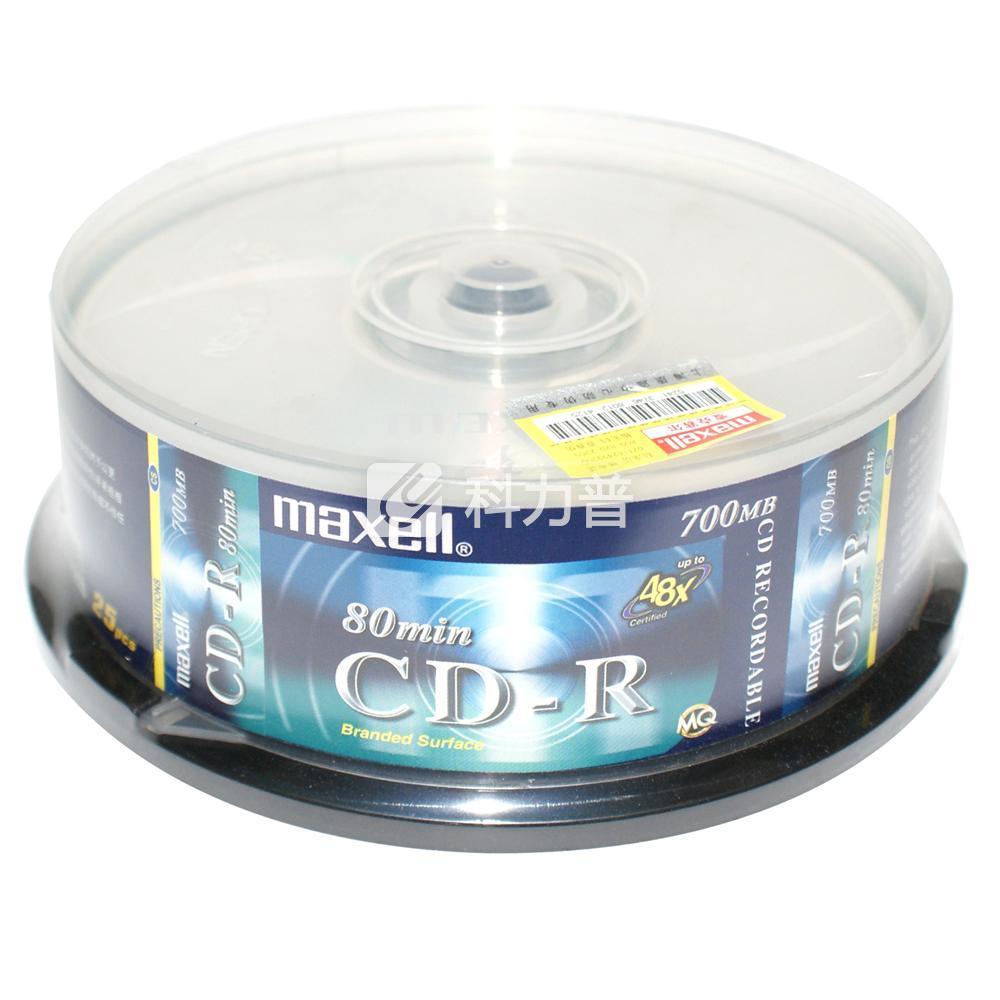 麦克赛尔 maxell 光盘 CD-R 48X 700MB 25片/筒 (银盘)