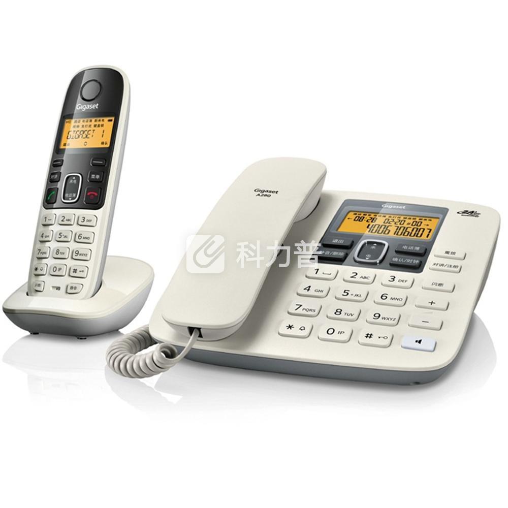 集怡嘉 Gigaset/西门子 数字无绳电话机 A280 一拖一子母机(白色)