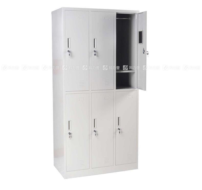恩隆 NL 六门更衣柜带锁 ZX-055 W900*D500*H1800mm (灰白色)