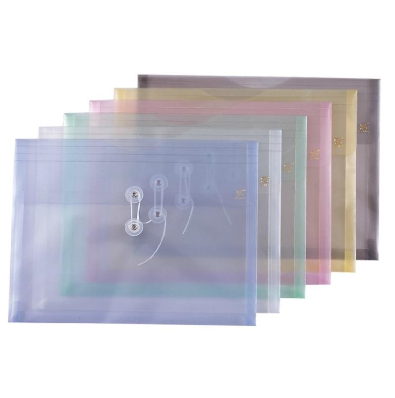 釗盛 透明文件袋 ZS-116A A4 (藍色、白色、綠色、粉色、黃色) 12個/包 (顏色隨機)