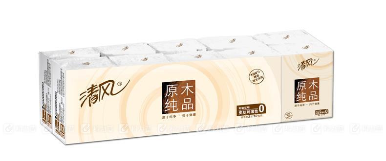 清风 Breeze 原木纯品标准包手帕纸 B53ACN 三层 10张 10包/组