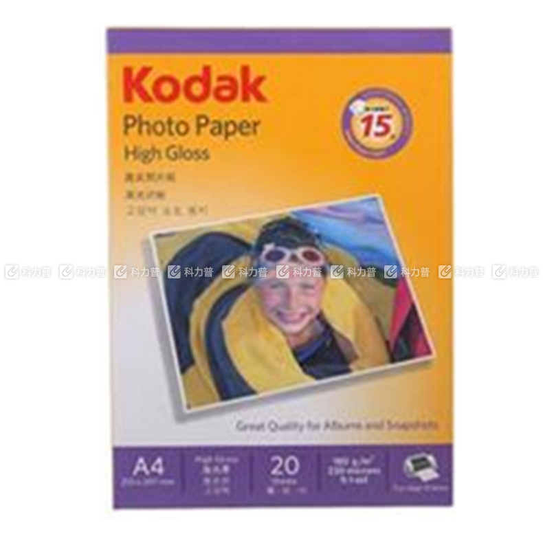 柯达(Kodak)4R 230g 高级光面照片纸 100张/包