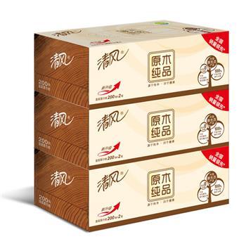 清风 Breeze 原木纯品盒装面巾纸双层 B338CN/C1 200抽/盒 3盒/提 12提/箱