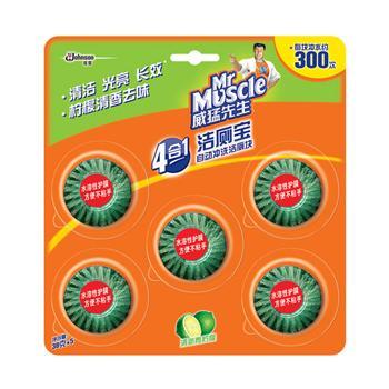 威猛先生 Mr Muscle 洁厕宝自动冲洗洁厕块 38g/块 5块/卡 24卡/箱 (清新青柠檬)