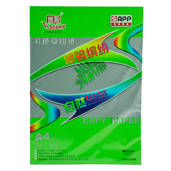 旗舰 FLAGSHIP 彩色复印纸 A4 80g (翠绿色) 100张/包 (仅限上海北京可售)