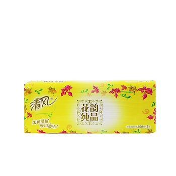 清风 Breeze 抽取式面巾纸双层 B338RC/BR38P/BR38LS 200抽/包 3包/提 16提/箱