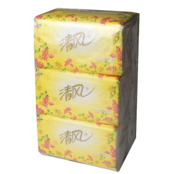 清风 Breeze 花韵袋装迷你抽取式面纸 B338RCM 200抽/包 3包/提 16提/箱