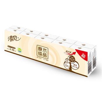 清风 Breeze 原木纯品标准包手帕纸三层 B66ATC/B66AC1 10张/包 10包/袋 48袋/箱