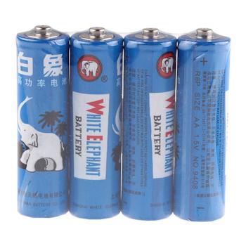 白象 WHITE ELEPHANT 碳性电池 5号 4节/卡