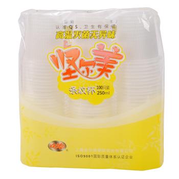坚尔美 Jem 竖条纹塑料杯 250ml (透明) 100个/袋 (东航专用)