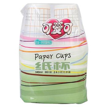 可爱可 带花纹纸杯 12盎司 340ml 50个/袋