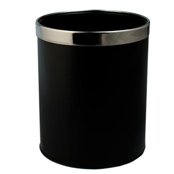 邦洁 圆形金属带圈垃圾桶 D153-BK 22.5*27cm (黑色)