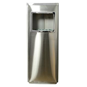 滋仁 方形不锈钢垃圾桶 LT-039 (银色) (含烟灰缸)