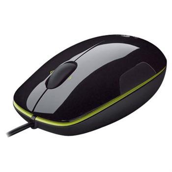 罗技 Logitech 有线激光鼠标 LS1 (黑色绿边) USB