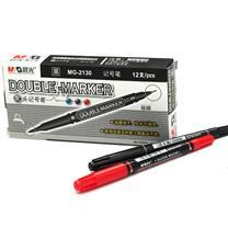 晨光 M&G 小双头记号笔 MG-2130 细头2.0mm,极细头0.5mm (黑色) 12支/盒 (大包装)