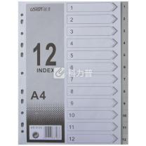 远生 Usign 胶质数字1-12分类索引 US-012A (灰色) 12页/套