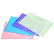易达 Esselte 粘扣式双色双袋信封袋/横 75010 A4 (粉色、蓝色、紫色、绿色) 4个/包 (颜色随机)