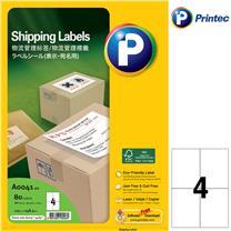 普林泰科 printec 物流管理打印标签 A0041-20 4分 105*148.5mm  20页/包