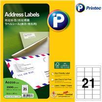 普林泰科 printec 地址打印标签 A0210-100 21分 63.5*38.1mm  100页/包