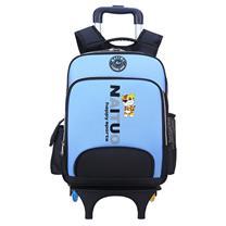 耐拓 韩版儿童三轮拉杆书包可爬楼梯小学生1-3-4-6年级书包 两轮可发光 A205 (蓝色) (DC)