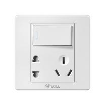 公牛 BULL 插座面板 G07E334 开关插座面板86型墙壁插座墙面白色二三插10a电源暗装带开关一开五孔插座双控带开关