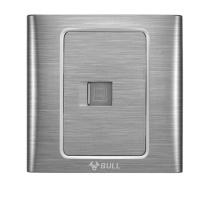 公牛 BULL 网线面板 G11T102A 拉丝银色 一位电脑 暗装 网络网线 86型开关插座彩色装饰墙壁面板 带荧光拉丝银