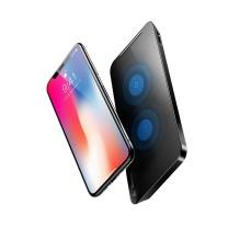 无线充电器 倍思(Baseus)iPhoneX无线充电器苹果10/X/8plus快充 三星note8/S7edge/S8 Qi无线快充头充电底座通用款 黑