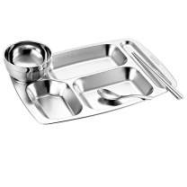 宇太 不锈钢餐盘 特厚五格盘碗勺筷套装 304套装:含餐盘、碗、汤勺、筷子