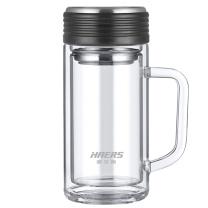 哈尔斯 玻璃双层带手柄水杯 LBL-400B-46 400ml (黑色)