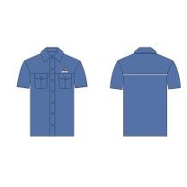 国产 定制同款牛仔衬衫短袖 40/2*21精梳全棉 160-190 (蓝色) 国电投链接