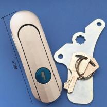 海胆 弹跳式把手锁配电箱机箱机柜门锁 平面锁电柜锁 带钥匙铝材质 AB403-1 87*28mm (银色)