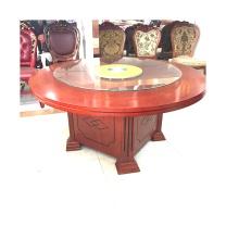 吉展 大圆桌 1.8*1.8*0.8M 实木 带玻璃转盘1.25M