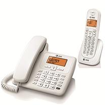 AT&T 数字无绳电话机 EL34109WCN (白色) 一拖一子母机(DC)