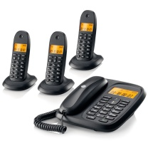 摩托罗拉 MOTOROLA 数字无绳电话机 CL103C (黑色) 一拖三子母机