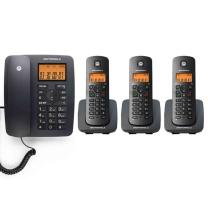 摩托罗拉 MOTOROLA 数字无绳电话机 C4203C (黑色) 一拖三子母机