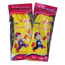 鸿宝 耐酸碱乳胶日用手套 L码 (黄色) 300双/箱 加厚