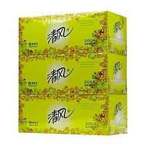 清风 Breeze 欧院清香盒装面巾纸双层 B338S  200抽/盒 3盒/提 12提/箱