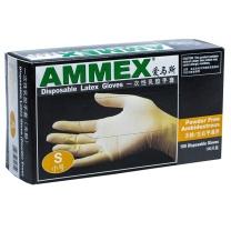 爱马斯 AMMEX 一次性乳胶无粉手套 TLFC42100 S  100只/盒
