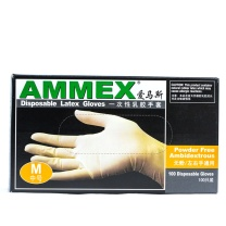 爱马斯 AMMEX 一次性乳胶无粉手套 TLFC44100 M  100只/盒