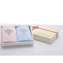 内野 UCHINO 素色高低毛绣花面巾礼盒 JD22792-N 34*80cm*2 (粉色,蓝色) (MOQ:36)