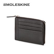 moleskine MOLESKINE 皮革短款拉链钱包 时尚休闲横向短款多卡位钱夹黑色0676