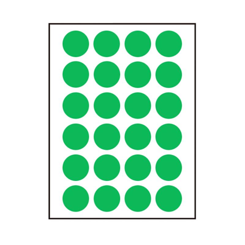 卓联 自粘性标签 圆点 ZL31 24枚*12 直径16mm (绿色) 12张/包