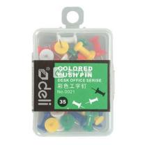 得力 deli 工字钉 0021 25mm (彩色) 35枚/盒