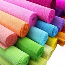 国产 彩色皱纹纸 50*250cm 淡黄色 橙色 深紫色 绿色 黄色 (下单备注颜色)