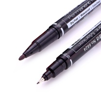 得力 deli 双头油性记号笔 6824 细头1.0mm,极细头0.5mm (黑色) 12支/盒