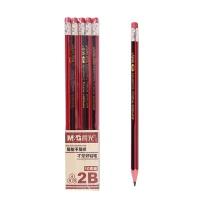 晨光 M&G 带橡皮红黑色木杆2B铅笔 AWP30804  10支/盒