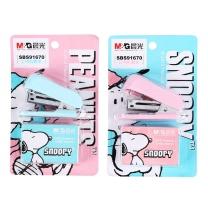晨光 M&G 史努比迷你型订书机套装 SBS91670 12页 (粉色、蓝色) 24卡/盒 (颜色随机)