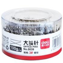 得力 deli 大头针 0039 100克/筒 (银色) 48筒/盒